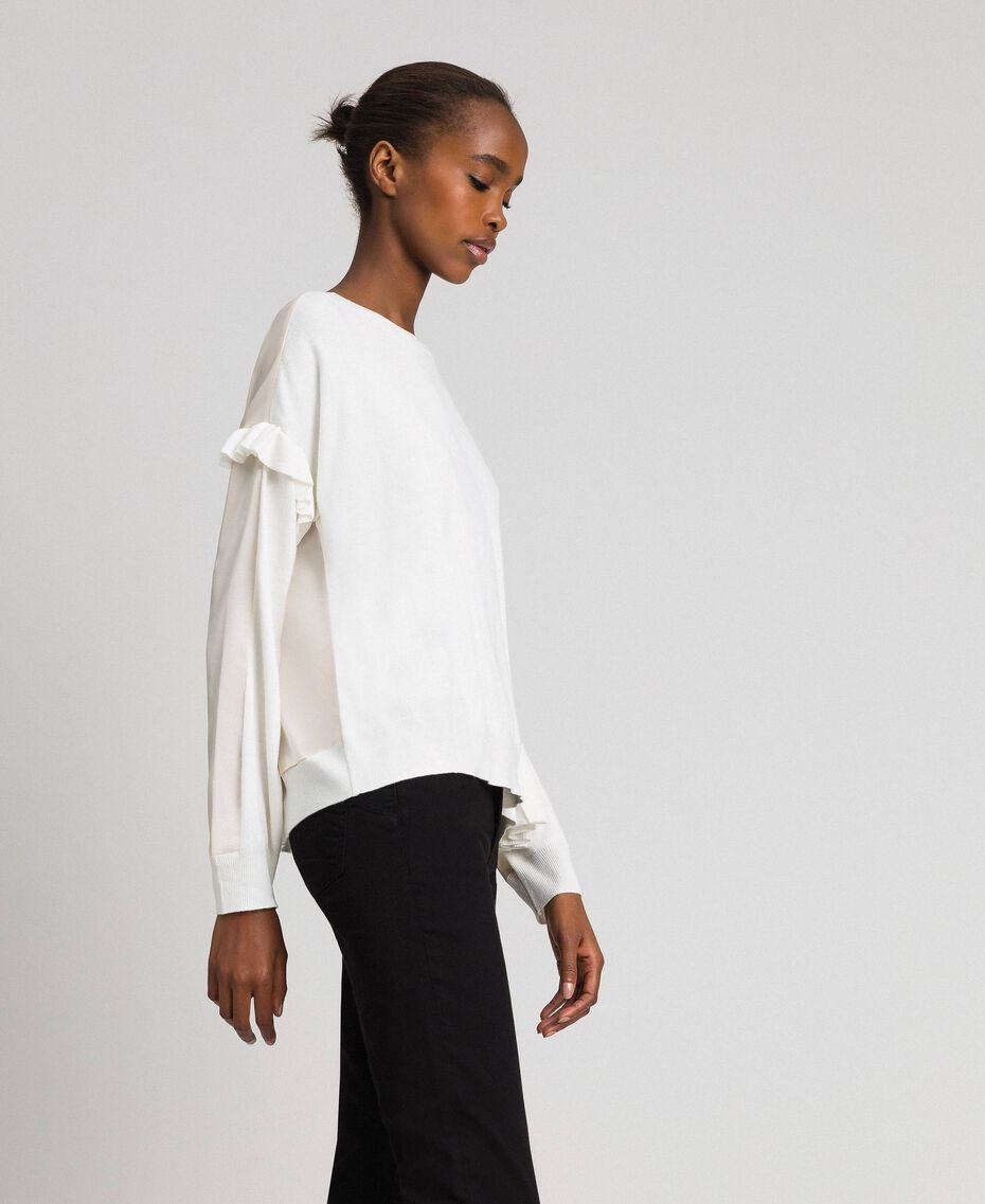 Boxy jumper with asymmetric flounce Vanilla White Woman 192MP3193-02