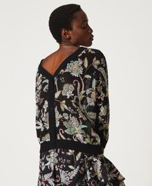 Floral print cardigan-jumper Black Indian Flower Print Woman 211TT3141-04