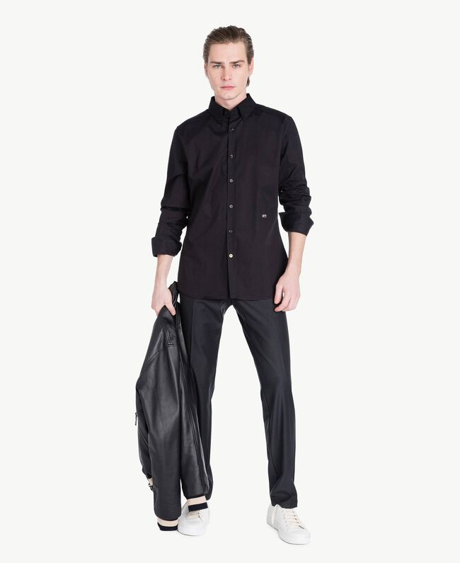 Poplin shirt Black Man US821D-05