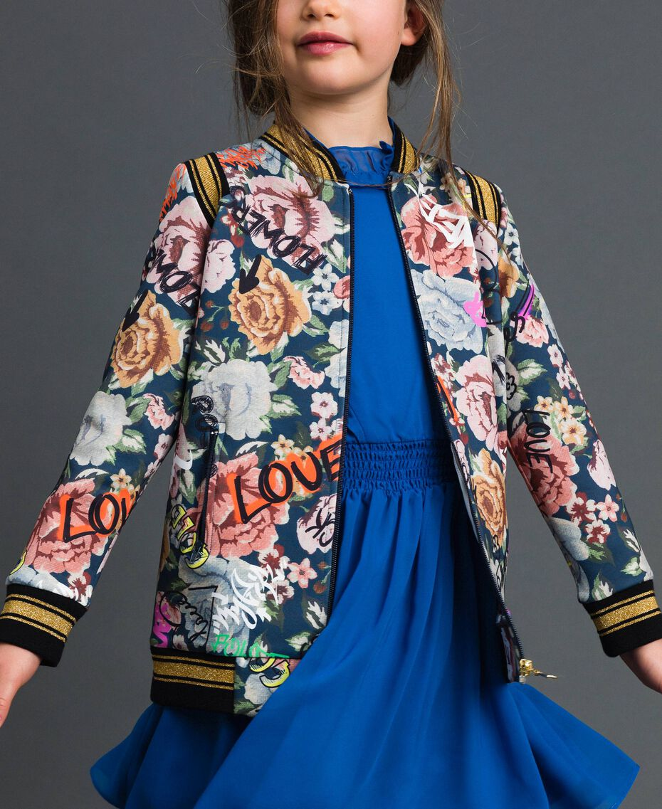 Scuba bomber jackets with floral and graffiti print Graffiti Print Child 192GJ2493-02