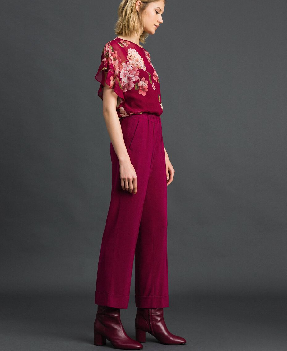 Georgette trousers Beet Red Woman 192TP2387-02