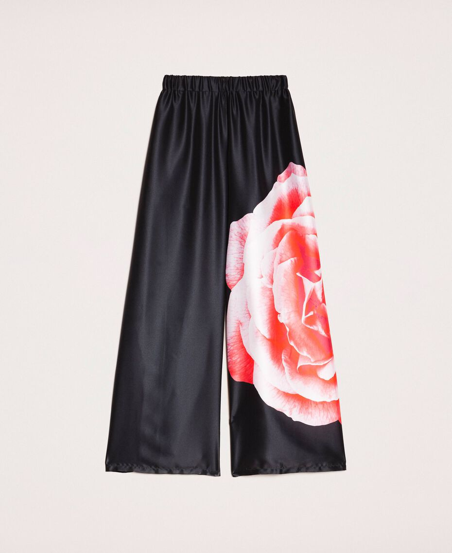 Palazzo trousers with print Black Rose Print Woman 201LB28RR-0S