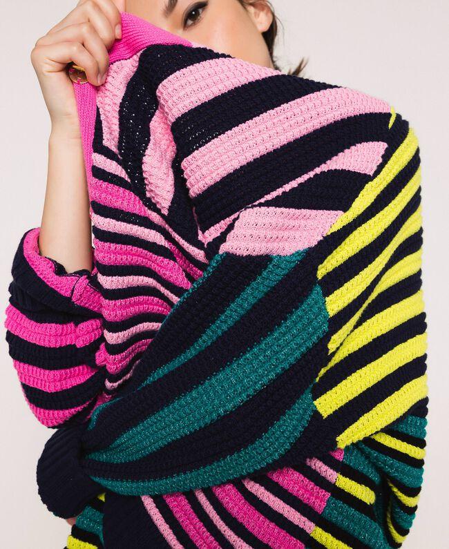 Maxicardigan mit mehrfarbigen Streifen Multicolor Frau 201ST3100-04
