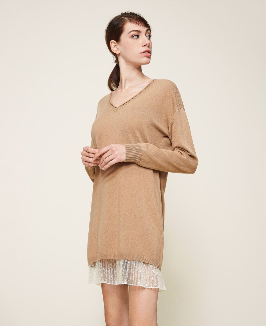 "Wool blend dress with pleats Two-tone ""Dune"" Beige / Cream White Woman 202MP3091-02"