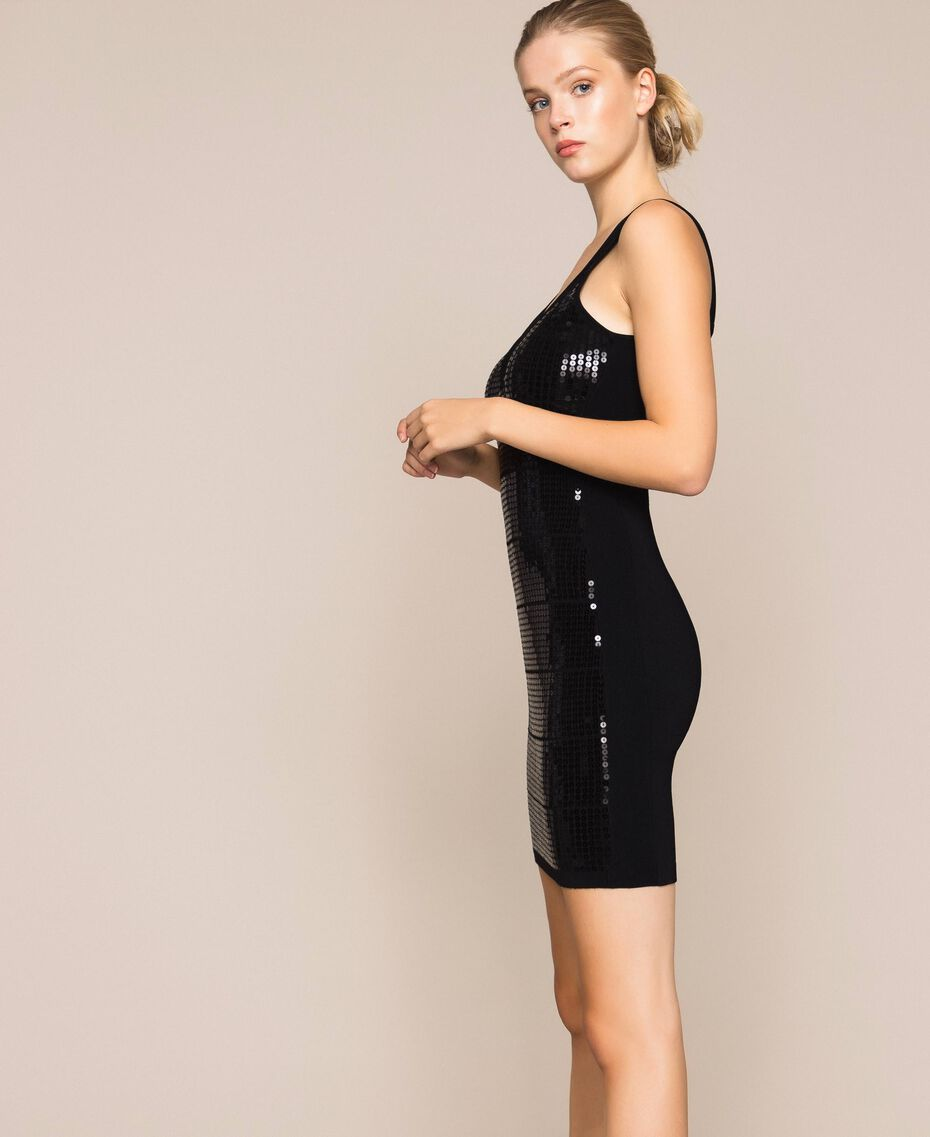 Sequin sheath dress Black Woman 201MP3031-02
