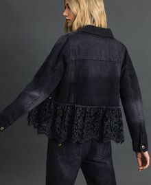 Giacca boxy in jeans e pizzo mélange Denim Nero Donna 192MP2200-03
