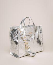 Sac cabas en cuir avec logo Blanc Neige Femme 201TA7090-04