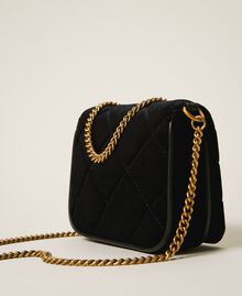 Velvet shoulder bag with patch Black Woman 202TD8280-04