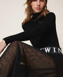 Falda larga con tul Negro Mujer 202LI2NMM-03