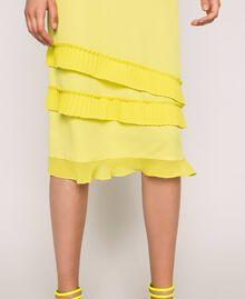 "Pleated crêpe de Chine slip dress ""Light Lemon"" Yellow Woman 201ST2015-04"