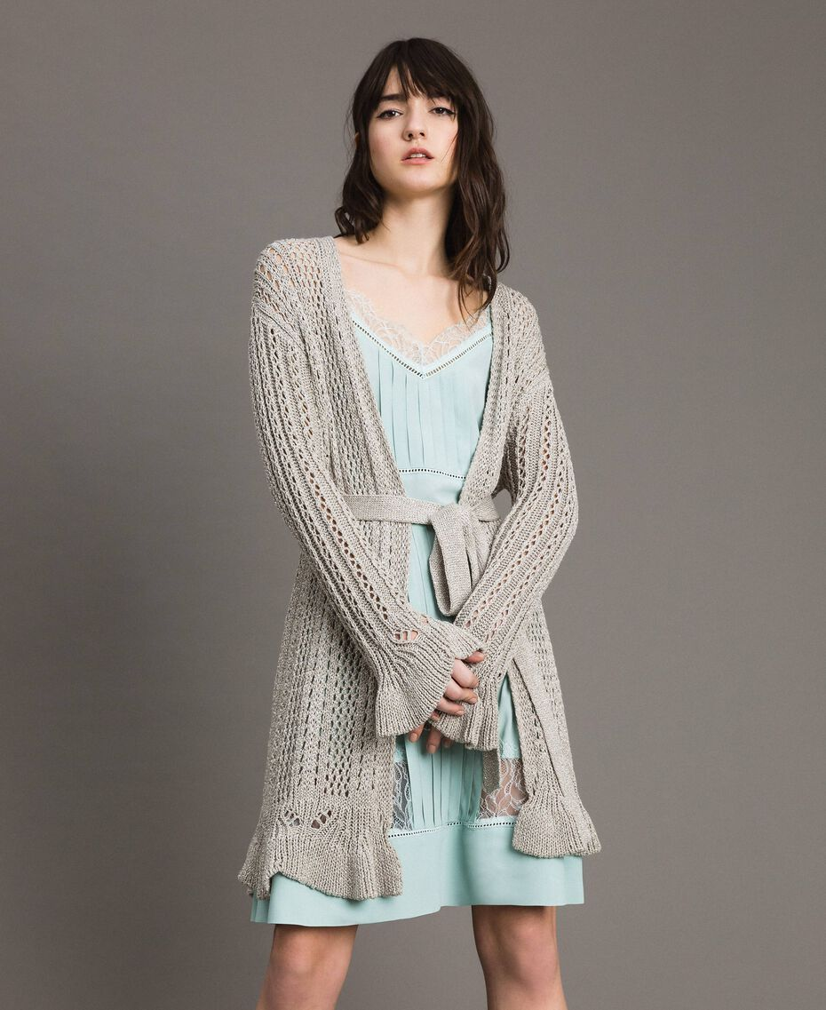 Cardigan oversize en lurex Argent Femme 191TP3352-01