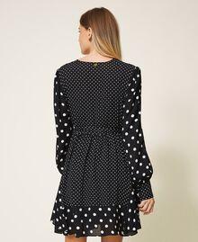 """Polka dot crêpe de Chine dress Black / """"Snow"""" White Polka Dot Patch Woman 202TT2311-03"""
