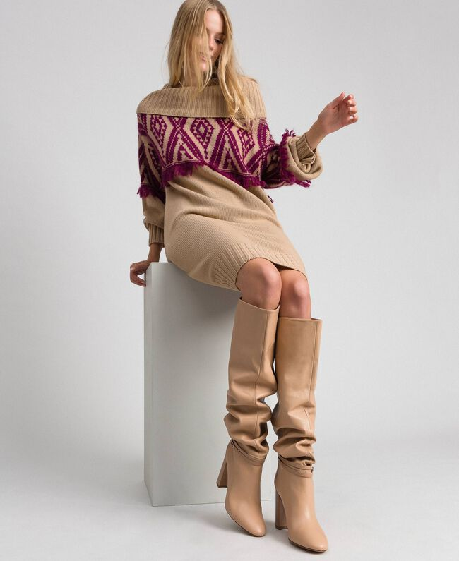 """Leather thigh-high boots with strap """"Nude"""" Beige Woman 192TCP106-0S"""