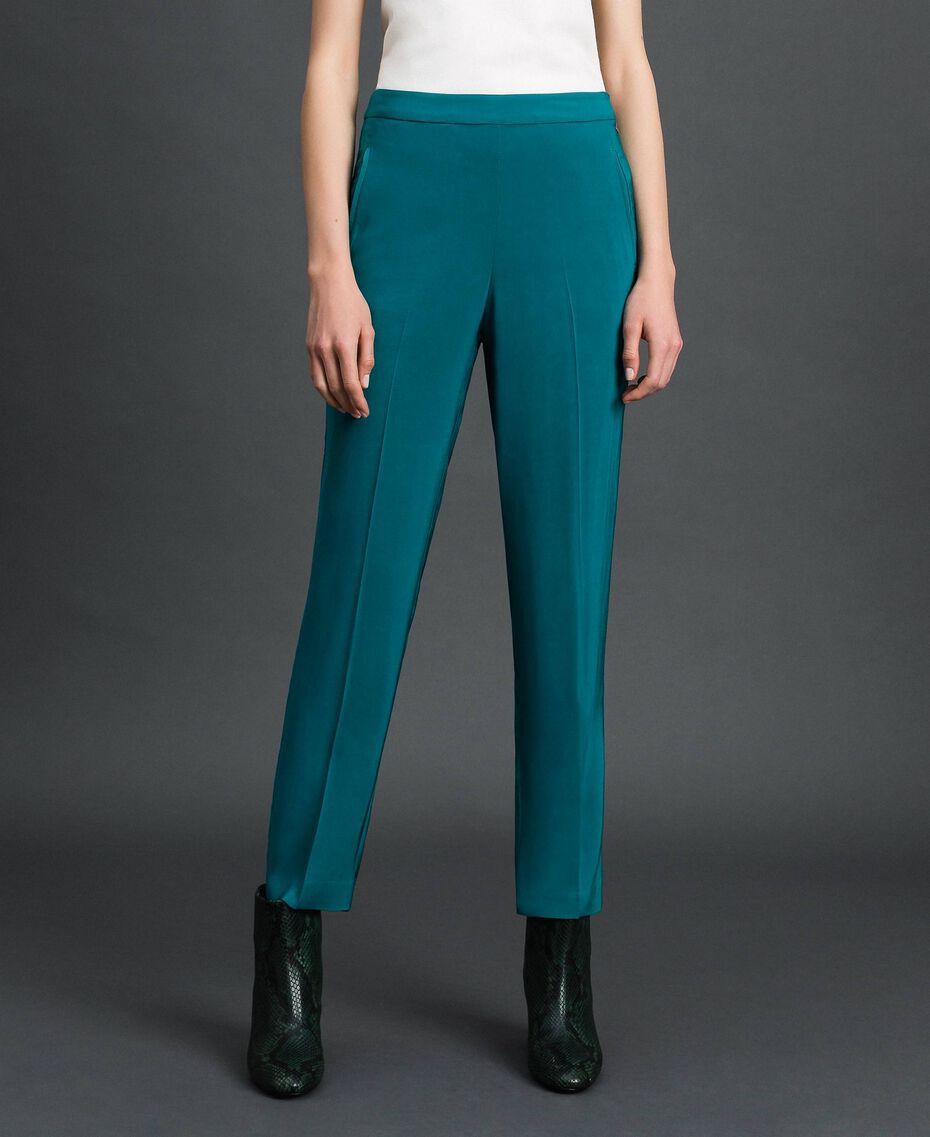 Pantalon cigarette en crêpe georgette Bleu Vert minéral Femme 192TP2386-05