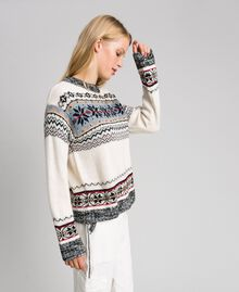 Alpaca jacquard blend jumper Vanilla White Woman 192MT3080-03