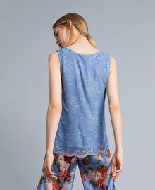 Top en dentelle avec feston Bleu ciel Femme SA82HN-03