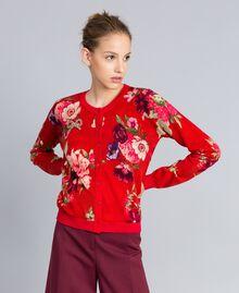 """Jacke aus Wolle mit Print Print """"Red Garden"""" Frau PA83KD-01"""