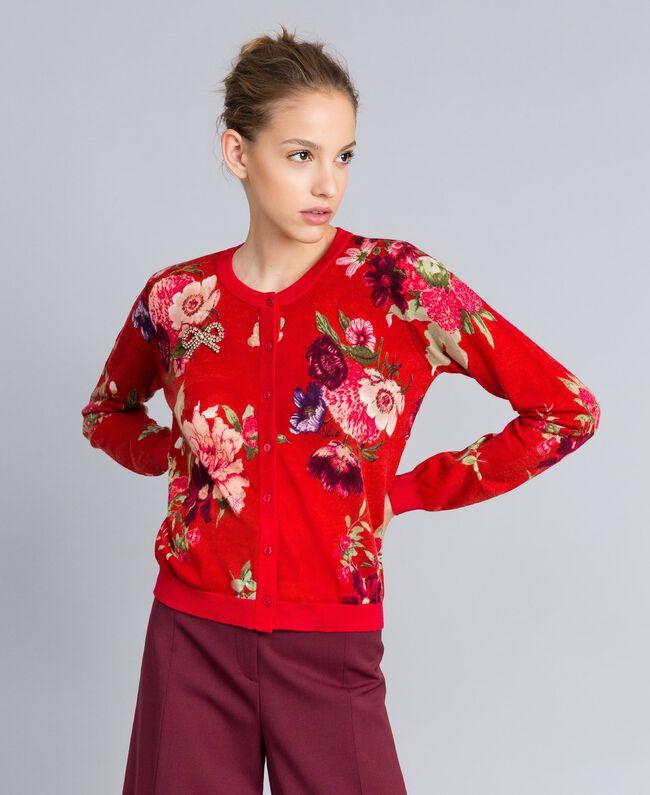 Printed wool mandarin collar top Red Garden Print Woman PA83KD-01
