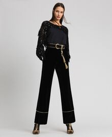Oversize sweatshirt with sequin embroidery and fringes Black / Dark Gold Sequins Woman 192TT2481-0T