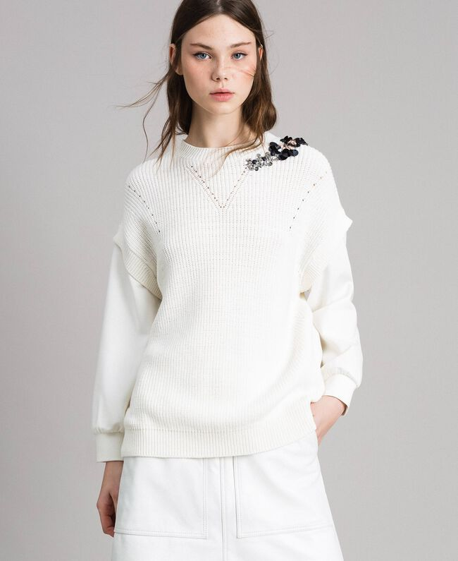"""Sweat shirt en maille de coton et au point de Milan Blanc """"Soie"""" Femme 191TP2071-01"""