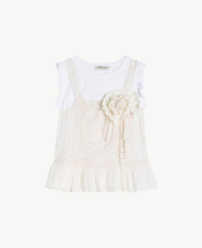 "T-shirt and lace top Two-tone ""Papyrus"" White / Chantilly Child GS82Z2-01"