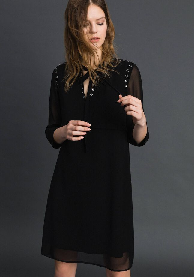 Georgette dress with stones and beads