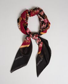 Foulard con fiori e logo stampati Stampa Foulard Piazzata Donna 192TA4421-01