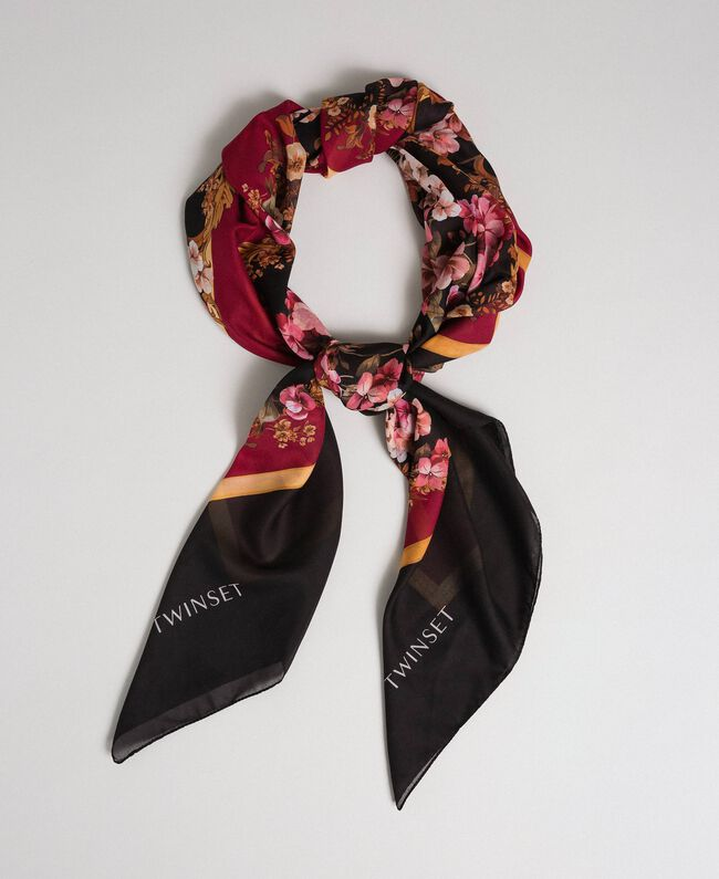 Scarf with floral and logo print Placed Scarf Print Woman 192TA4421-01