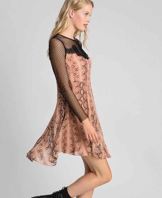 Kleid aus Georgette mit Animal-Print