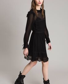 Georgette and lace dress Black Woman 191TP2127-03