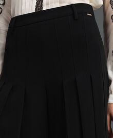 Trouser-skirt with pleats and logo Black Woman 192ST2164-04