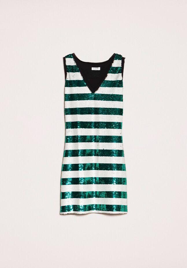 Full sequin two-tone stripe dress