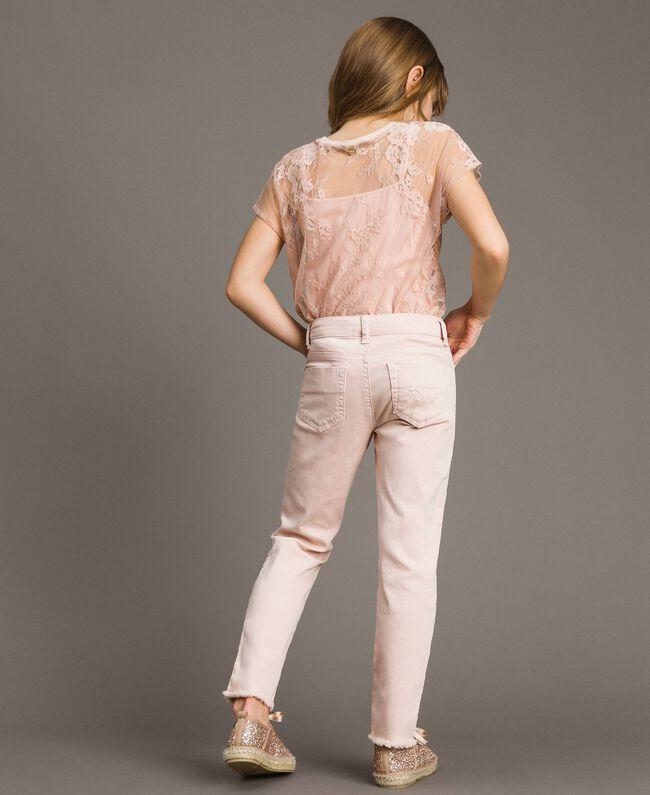 Pantalon skinny en bull avec détails déchirés Rose En fleur Enfant 191GJ2061-03