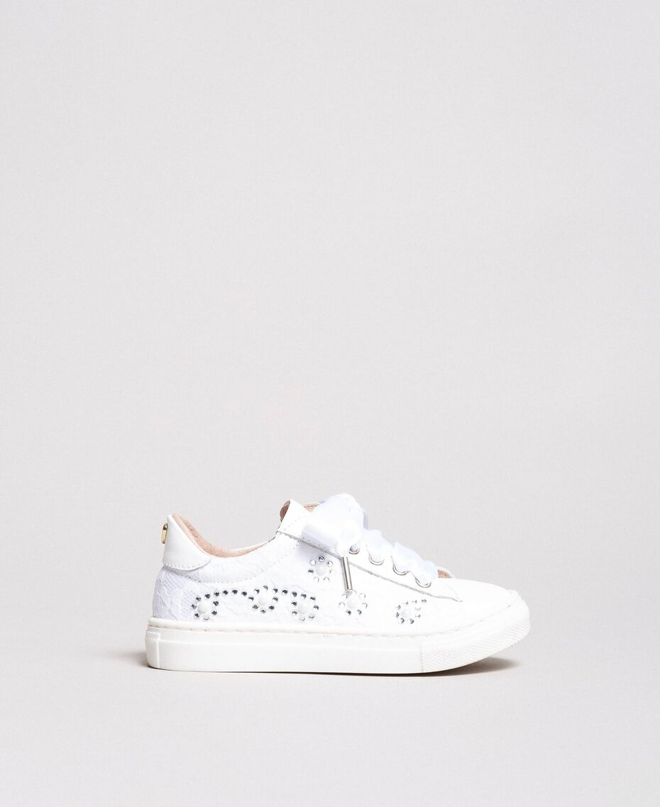 Sneakers with pearls and rhinestones Pale Cream Child 191GCB060-02