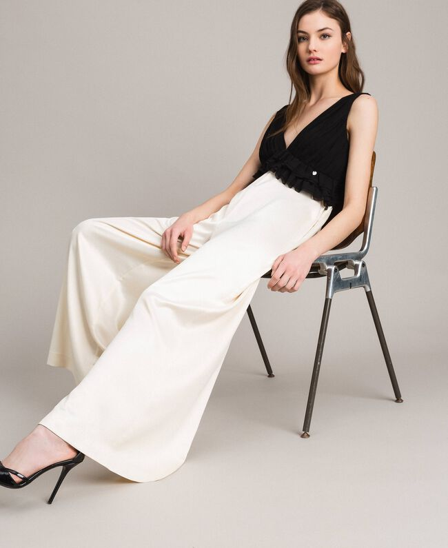 Two-tone satin and georgette jumpsuit Two-tone Ecru / Black Woman 191ST2191-01