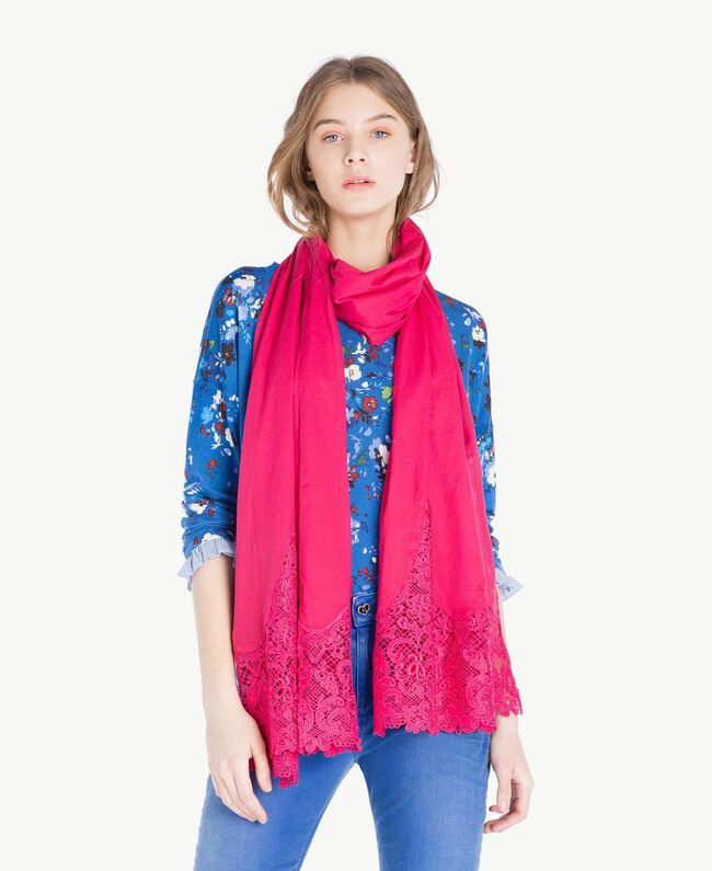 Macramé lace scarf Provocateur Pink Woman OS8T27-02