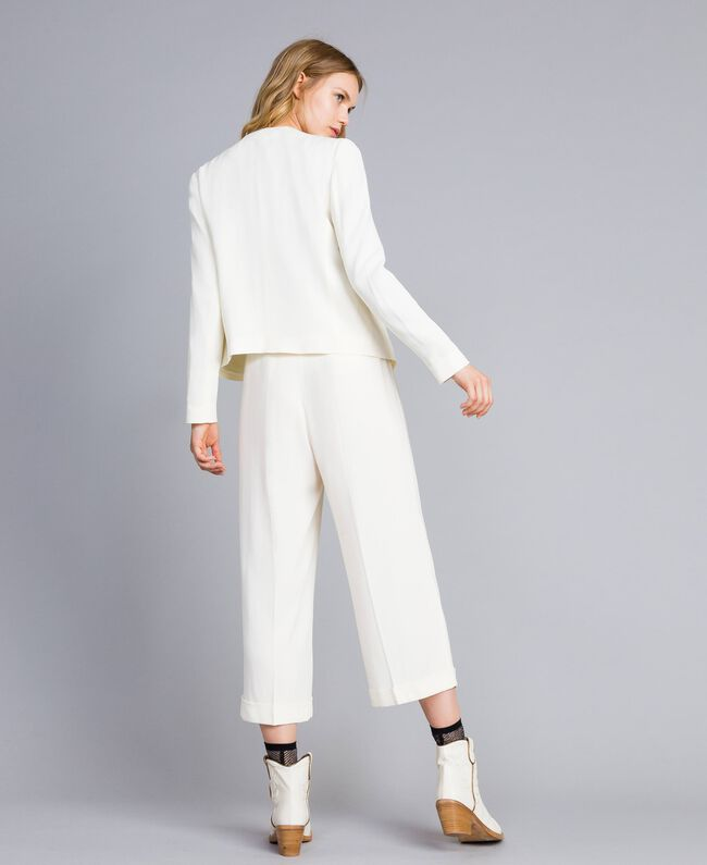 Pantaloni cropped in envers satin Bianco Neve Donna TA824K-03