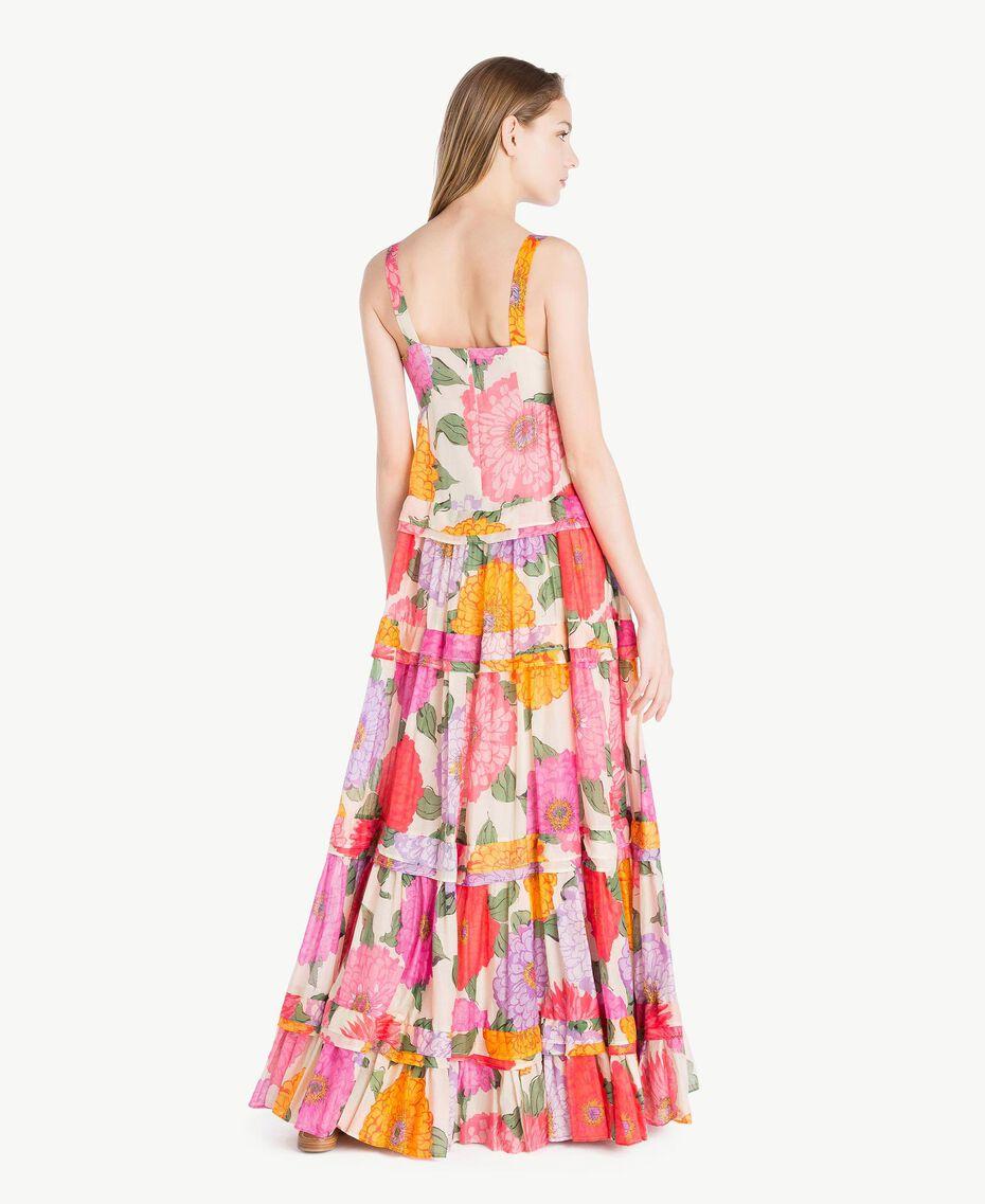 Langes Kleid aus Musselin Makropfingstrosen-Print Frau TS825C-03