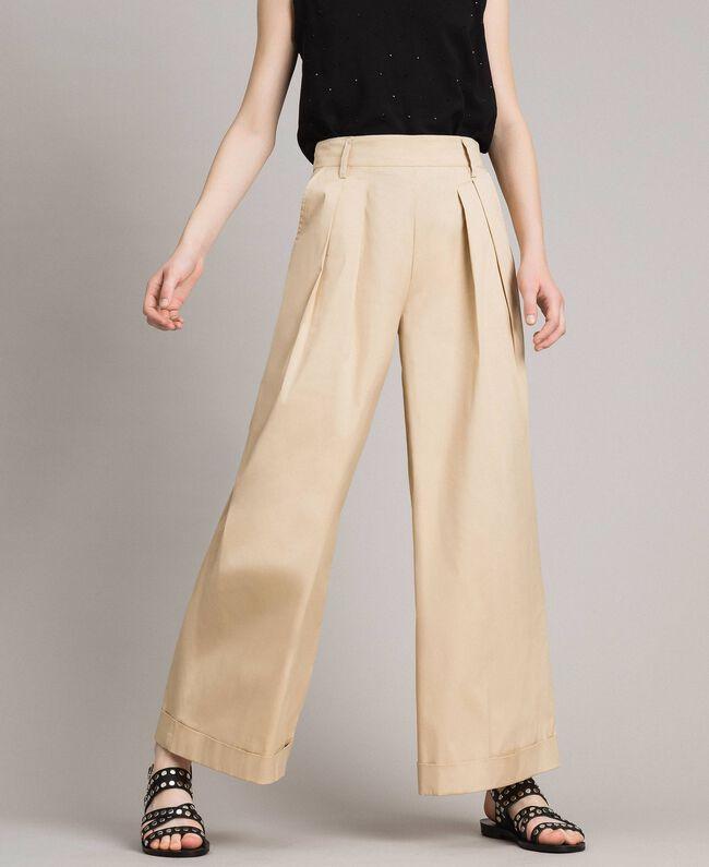 Pantaloni a palazzo in popeline Porcellana Beige Donna 191MP2213-01