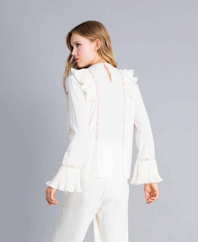 Silk blend blouse with ruches and lace White Snow Woman TA823Q-03