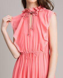 """Robe longue en georgette et dentelle Rose """"Églantine"""" Femme 191TP2370-04"""