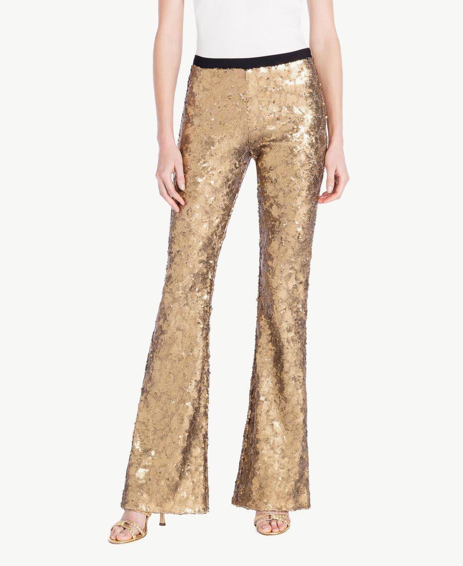 Pantalon full paillettes Jaune Or Femme TS82EQ-01