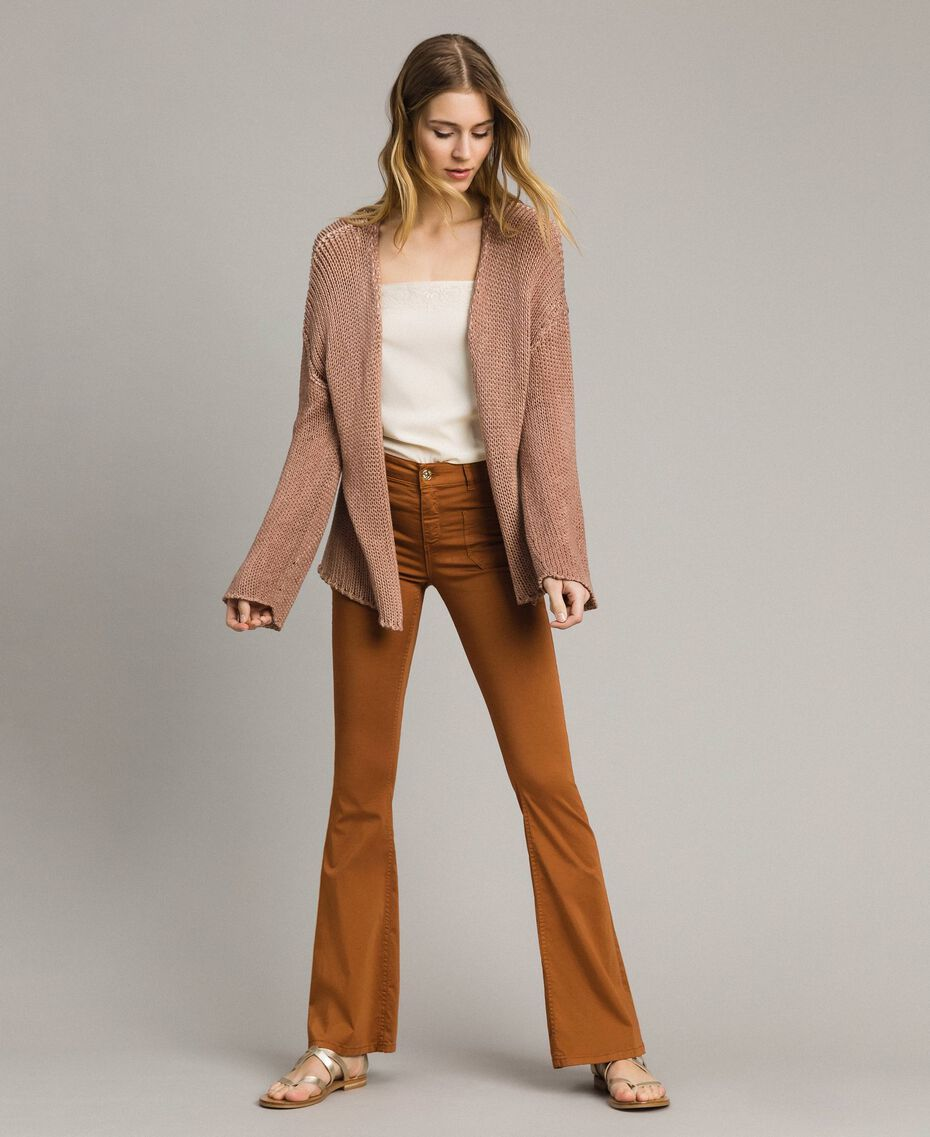 "Double-sided cotton cardigan ""Desert Rose"" Beige Woman 191MT3012-02"