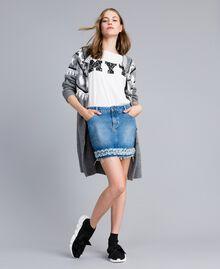 Mini-jupe en denim Bleu Denim Femme JA82Y1-0T