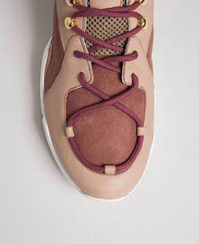 Chaussures de running en cuir avec strass Rose «Rose Nude» Femme 192TCT112-04