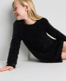 Fur effect knit dress Black Child 192GJ3062-01