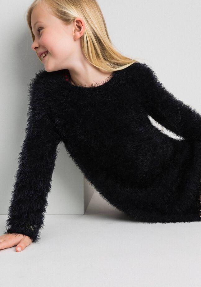 Fur effect knit dress