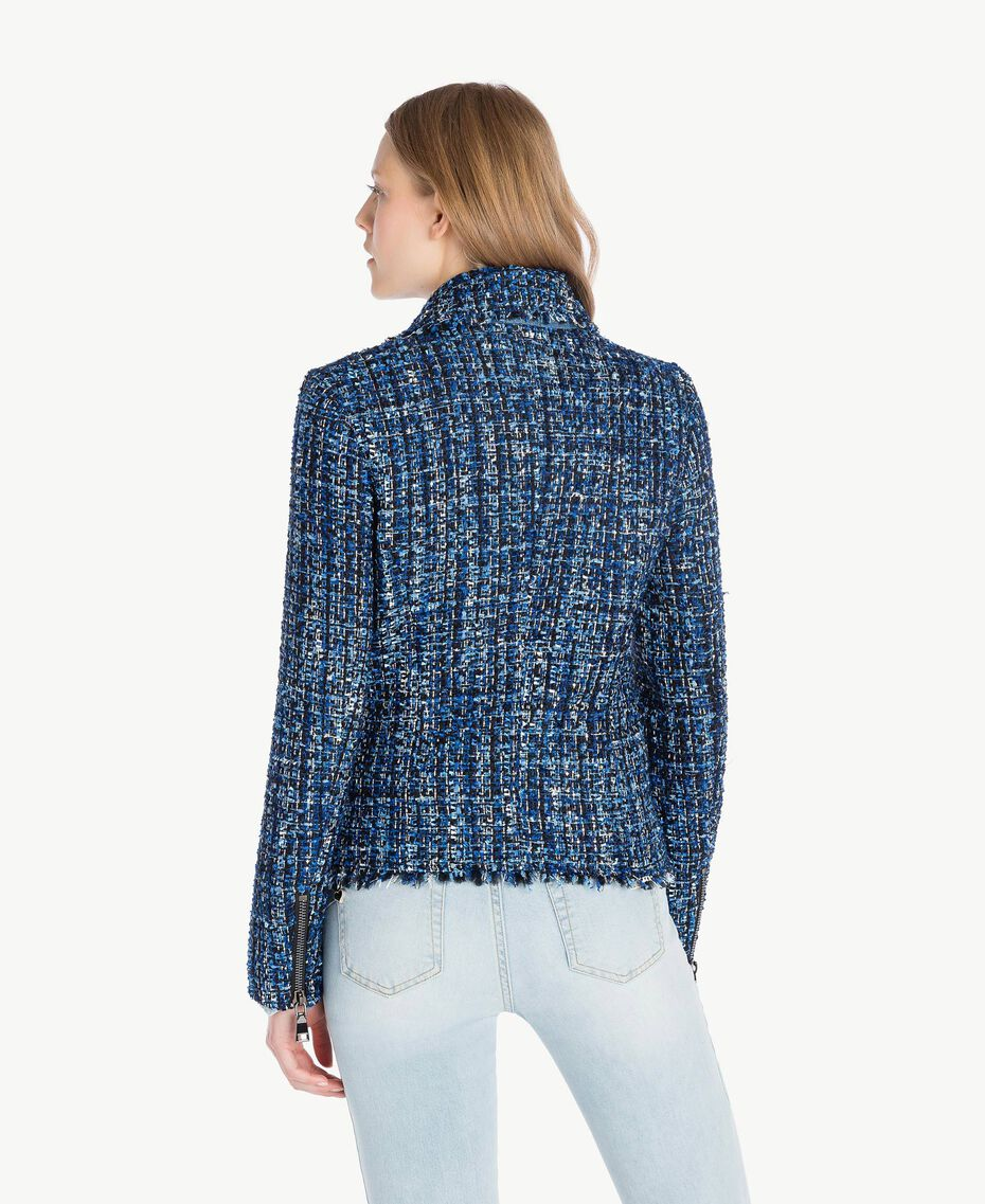 Bouclé biker jacket Multicolour Lapis Blue Woman JS82MC-03