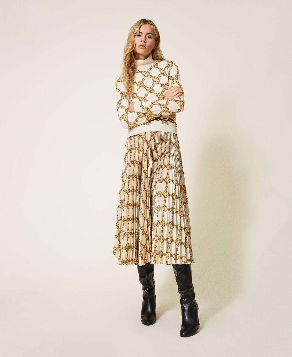 Jupe plissée avec imprimé de chaînes Imprimé Grande Chaîne Ivoire / Or Femme 202TT2212-02