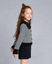Cardigan en laine mélangée rayée Bicolore Noir / Blanc Cassé Enfant GA83KA-02